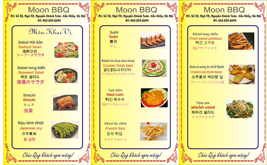 Thực đơn Moon BBQ